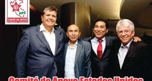 El ex presidente Alan García, candidato a la presidencia del Perú por Alianza Popular, junto con Héctor Herrera, William Bedregal y Aldo Beretta, algunos de los coordinadores de esa agrupación política que viajaron para reunirse en Lima.