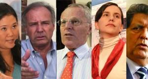 Los principales candidatos para la presidencia del Perú. Keiko Fujimori, Alfredo Barnechea, Pedro Pablo Kuczynski, Verónika Mendoza, Alan García Pérez.