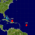 Gráfica de la ubicación de los huracanes Katia, Irma y José en el Atlántico, según el Centro Nacional de Huracanes. Sept. 7, 2017.