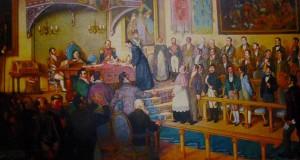 Firma de la Independencia de Guatemala, en una pintura de Luis Vergara Ahumada.